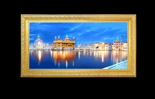 Golden Temple Blue Sky Panorama Shot with Golden Frame . Golden ...