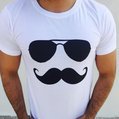 Mustache Swagger White Tshirt