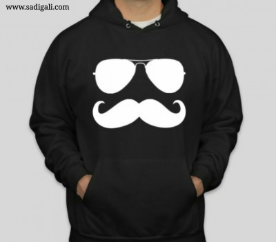 Black And White Mustache Swagger Hoodie