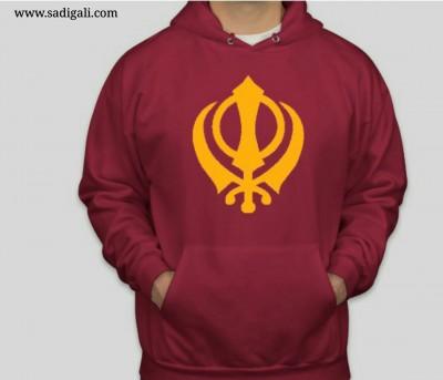 Golden Khanda Maroon Hoodie
