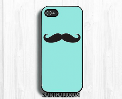 Blue iPhone Cover Mustache