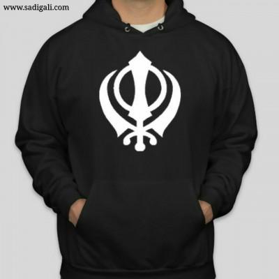 White Khanda Black Hoodie
