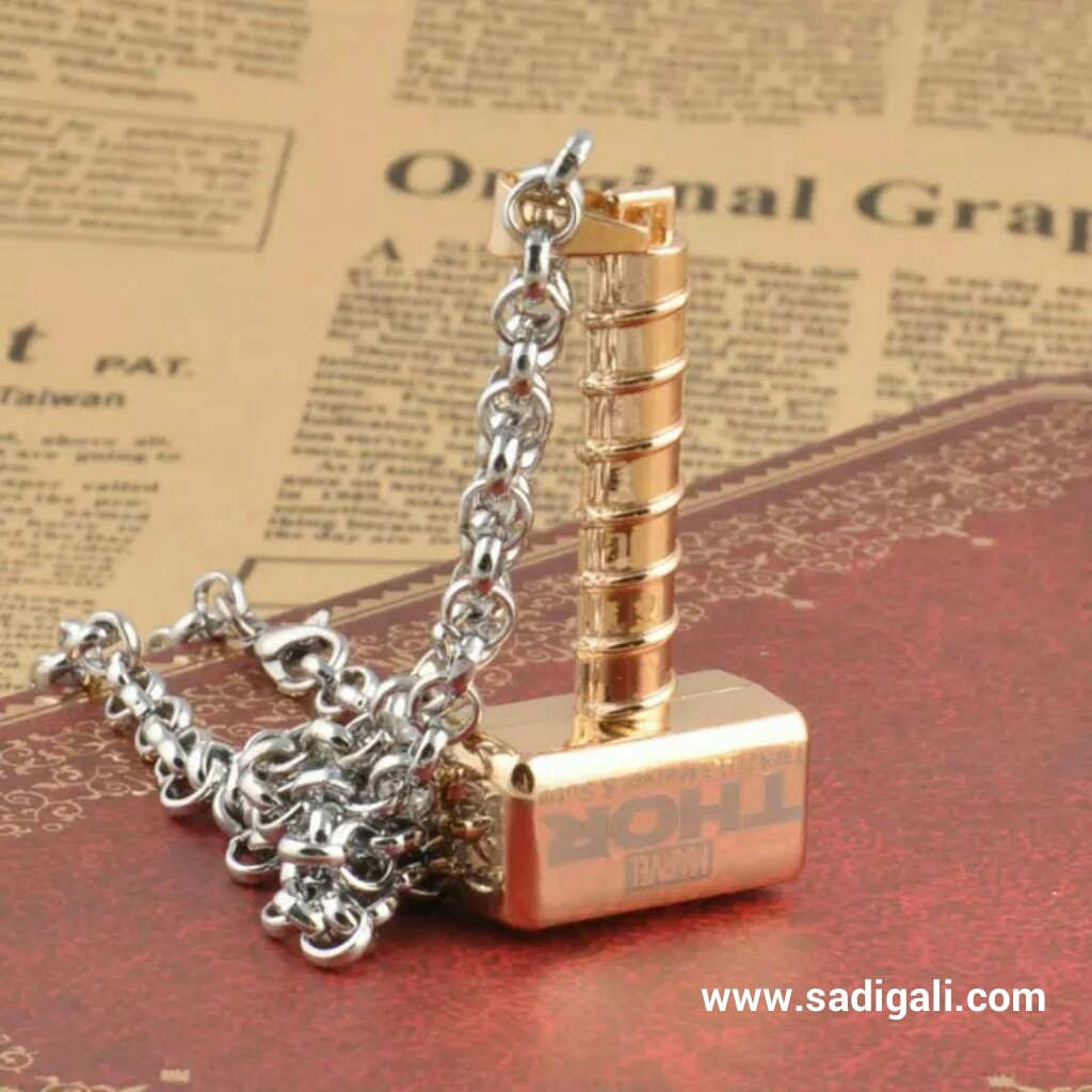 gold plated thor hammer neck chain