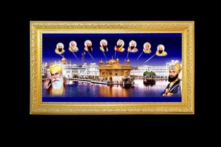Golden Temple With Ten Gurus Golden Plated Frame Golden