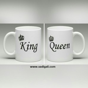 King & Queen White Coffee Mug for Couples