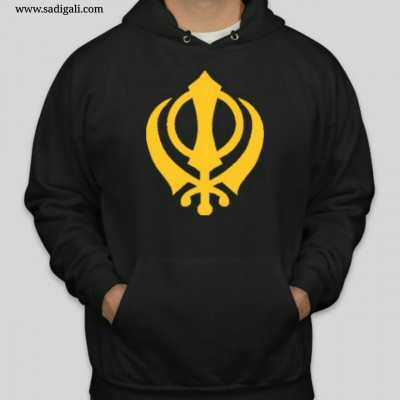 Golden Khanda Black Hoodie