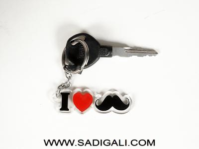 I Love Mustache Acrylic Key Chain