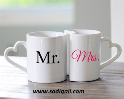 Mr And Mrs Heart Handle Coffee Mugs