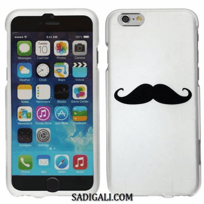 iPhone Soft White Cover Black Mustache